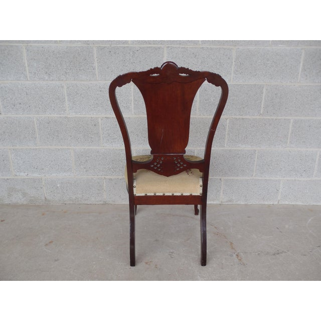 Vintage French Louis XV Style Carved Mother of Pearl Inlay Vanity Chair For Sale - Image 9 of 10