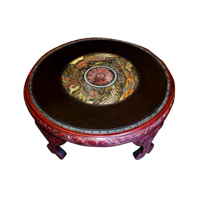 Ornate Oriental Wood Carved Round Coffee Occasional Table For Sale