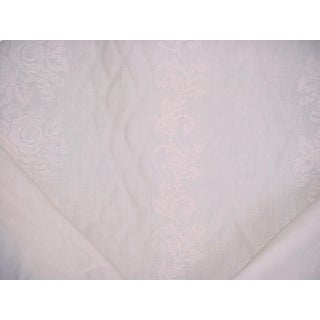 Traditional Ralph Lauren Georgica Linen Embroidery Cameo Upholstery Fabric - 2-1/8y For Sale