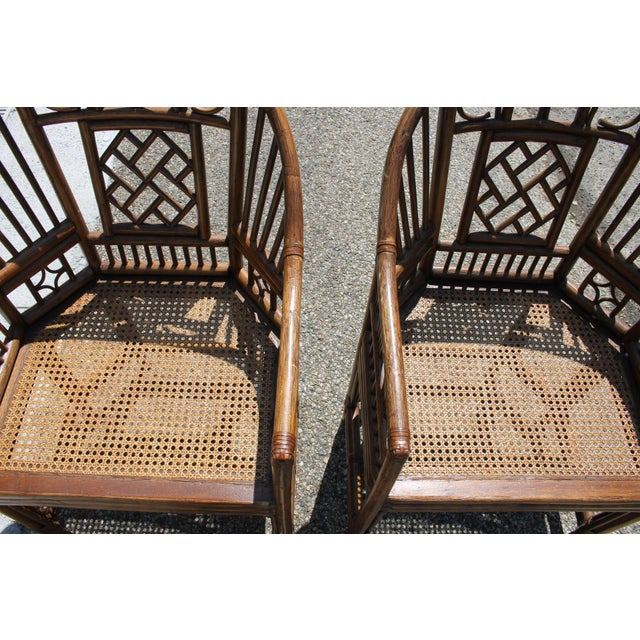 Chinoiserie Chinoiserie Bamboo Rattan Brighton Pavilion Chairs With Caning- a Pair For Sale - Image 3 of 11