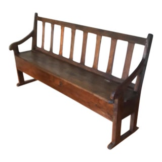 18th Century French Oak Bench With Storage For Sale