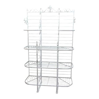 French White Wrought Iron Bakers Rack For Sale