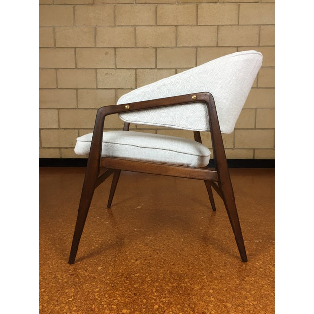 """This is a rare lounge chair designed by Gio Ponti for Singer & Sons. New upholstery. Some minor wear. 24"""" wide x 25"""" deep..."""
