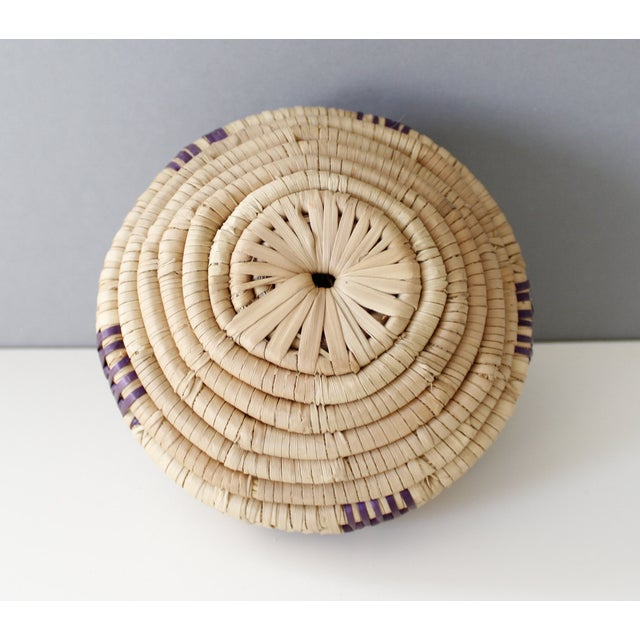 Vintage Woven Coil Basket With Round Purple Lid - Image 6 of 6