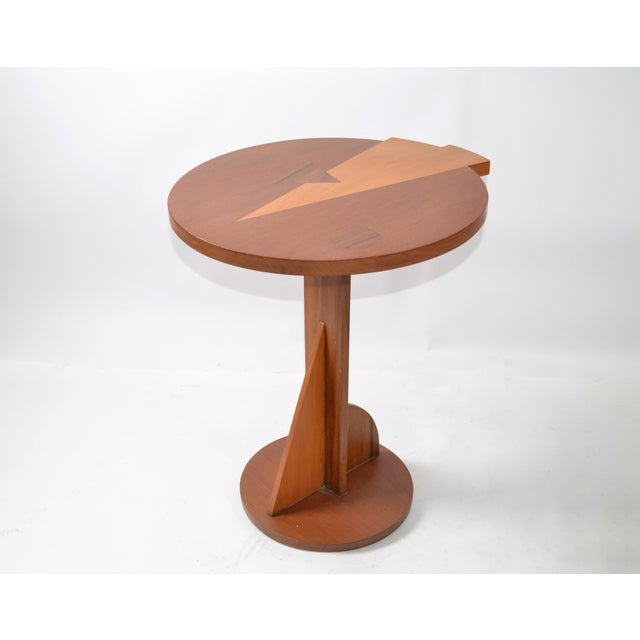 Mid-Century Modern Round Mahogany Wood Marquetry Side / Cocktail Table Italy For Sale - Image 13 of 13