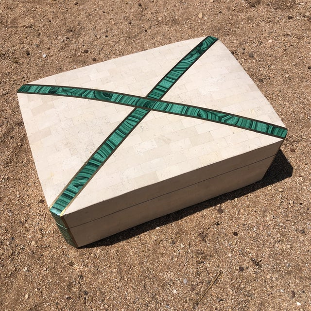Alabaster Postmodern Tessellated Travertine with Malachite Inlay Jewelry Box For Sale - Image 8 of 8