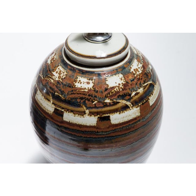 Signed Petteford Studio Pottery Lamps - A Pair For Sale - Image 5 of 6