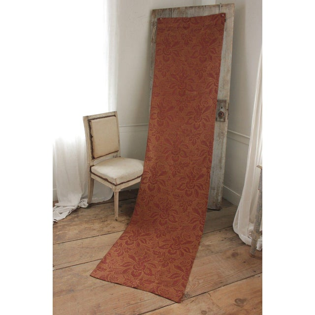 Antique French Fabric 19th Century Jacquard Weave Furnishing Rust Tone For Sale - Image 11 of 12