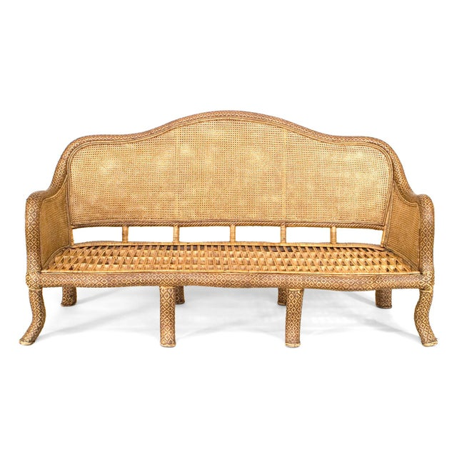 Rustic English 'Anglo-Indian Style' Natural Wicker Settee For Sale - Image 3 of 6