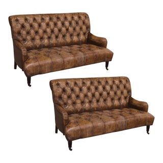 Pair of Tufted English Library Settees in Antiqued Leather For Sale