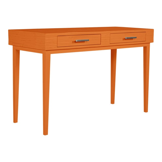 Athena Desk in Citrus Orange For Sale