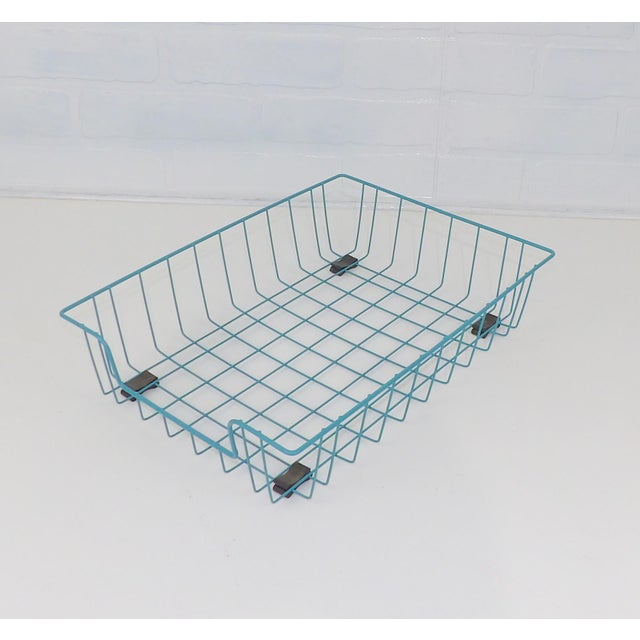 Metal Teal Aqua Blue Mid-Century Modern Metal Wire File Basket or Magazine Rack For Sale - Image 7 of 7