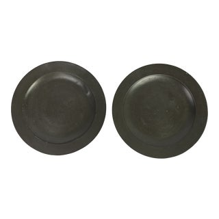 Mid 19th Century English Pewter Plates - a Pair For Sale