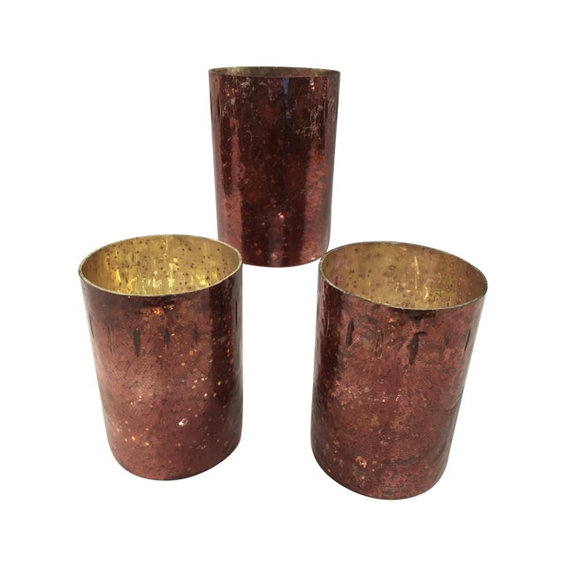 Red Mercury Glass Hurricane Candles - Set of 3 - Image 1 of 4