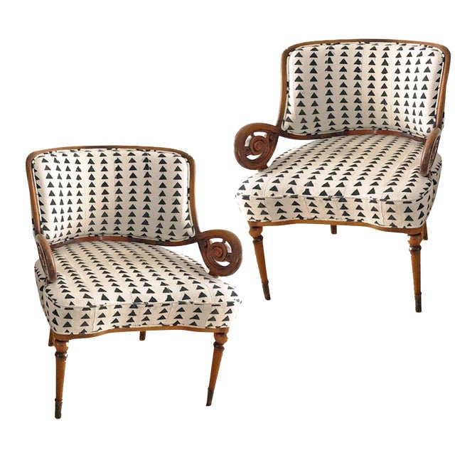 Vintage Black & White Upholstered Arm Chairs - A Pair For Sale