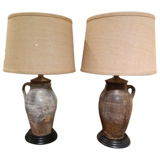 Pair of Italian Terracotta Oil Jars Adapted as Lamps, 19th Century For Sale