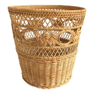 Vintage Curly Wicker Basket For Sale
