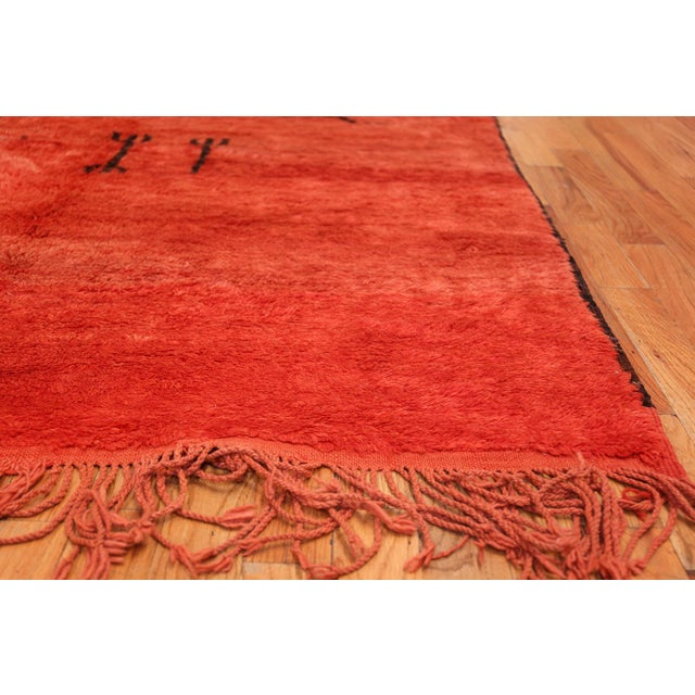 Mid 20th Century Vintage Tribal Moroccan Burnt Orange Rug - 6′2″ × 9′7″ For Sale - Image 5 of 11