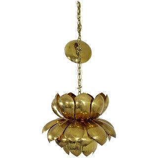 Mid-Century Modern Feldman Brass Lotus Flower Ceiling Pendant Chandelier, 1960s