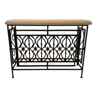 Antique Gate and Concrete Console Table For Sale