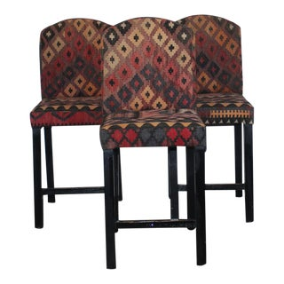 Turkish Kilim Bar Stools - Set of 3 For Sale
