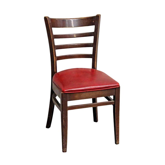 Dark Wood Red Seated Chair - Image 1 of 5