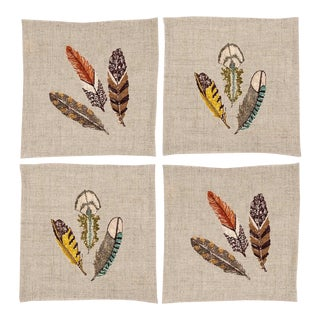 Feathers Cocktail Napkins - Set of 4 For Sale