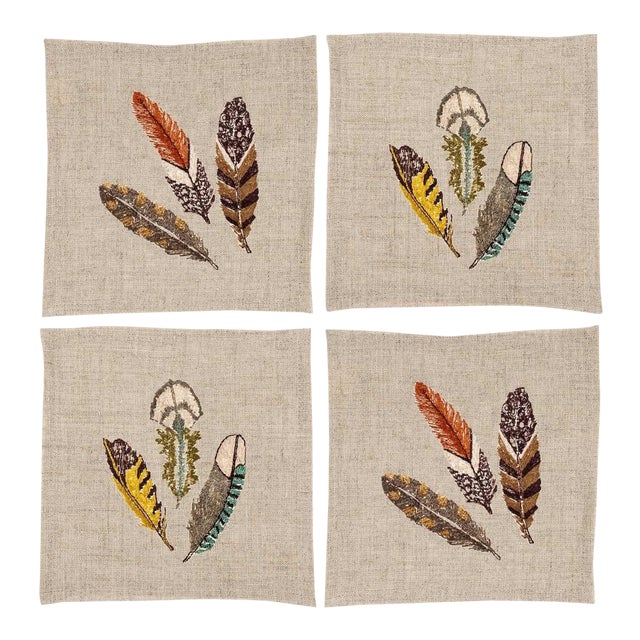 Feathers Cocktail Napkins - Set of 4 - Image 1 of 6