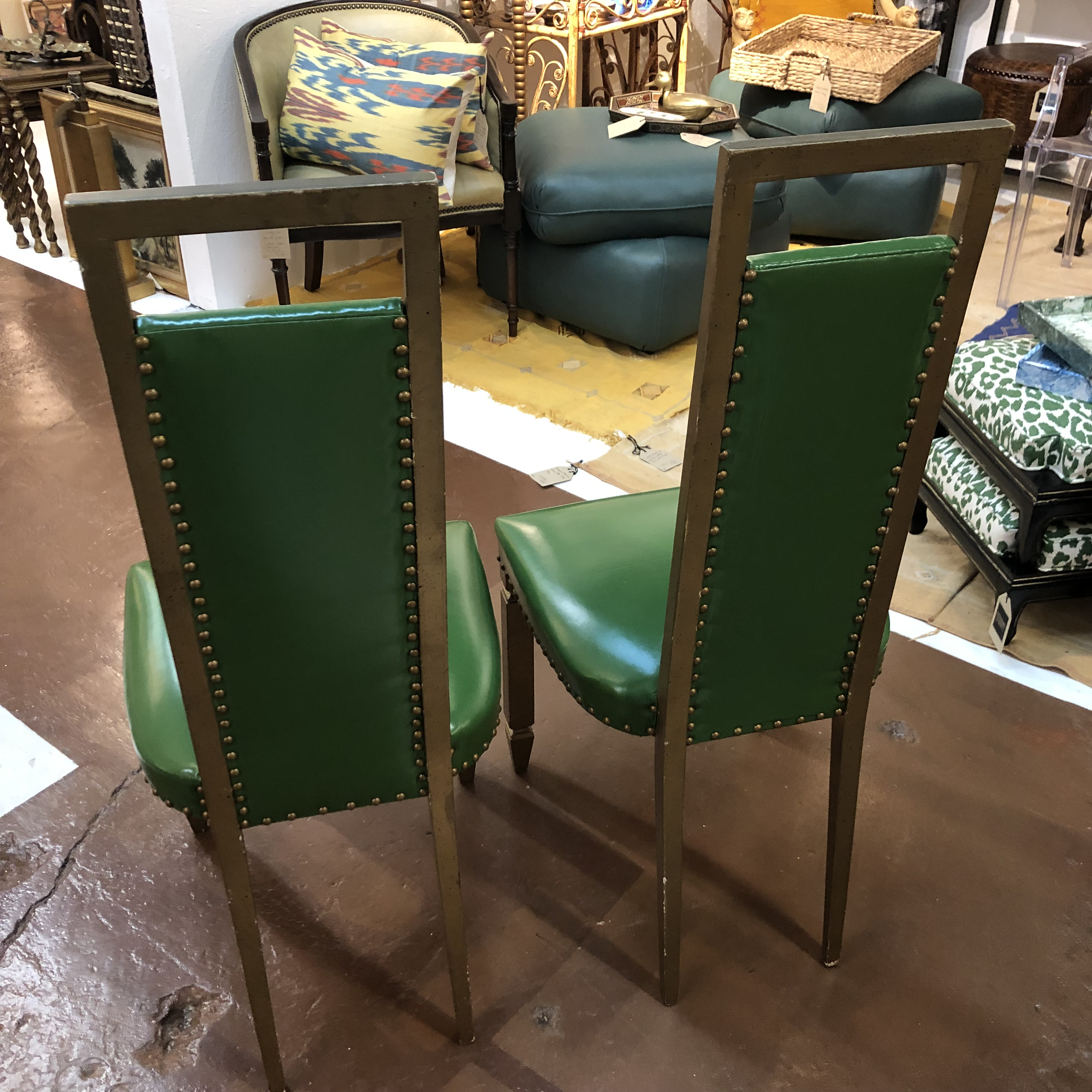 Art Deco Green Throne Hollywood Regency Style Chairs, A Pair For Sale    Image 3