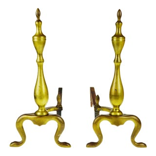 Vintage Logan Co. Federal Style Brass Fireplace Andirons - a Pair For Sale