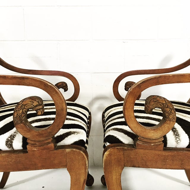 Vintage Carved Zebra Armchairs - a Pair For Sale In Saint Louis - Image 6 of 10