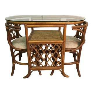 1960s Rattan & Glass Top Dining Set For Sale