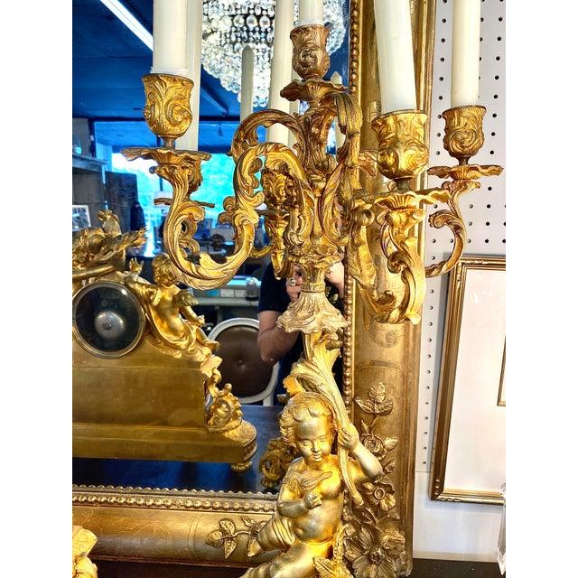 19th. C. French Louis XVI Dore Bronze Garniture Set For Sale - Image 9 of 13