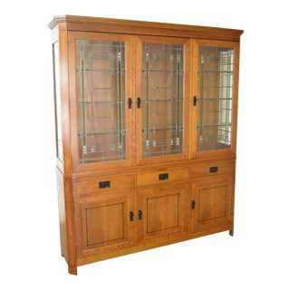 Stickley Modern Cherry Leaded Glass 3 Door China Cabinet