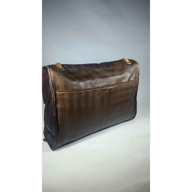 American Handcrafted Brown Envelope Embossed Leather Crossbody/ Double Handle Handbag For Sale - Image 3 of 5