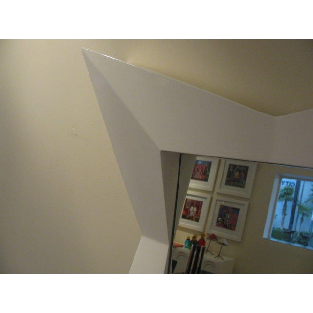 Contemporary Oversized Diamond White Lacquered Mirror For Sale - Image 3 of 3