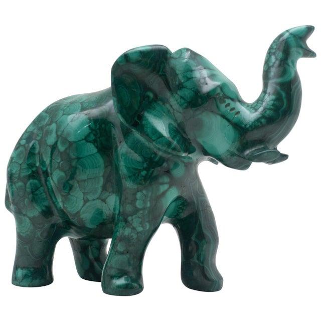 Gemstone Malachite Elephant Carving For Sale - Image 7 of 7