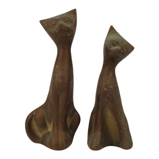 Leonard Solid Brass Collection Cat Sculptures - a Pair For Sale