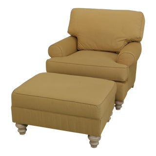 Clayton Marcus Gold Upholstered Chair & Ottoman For Sale