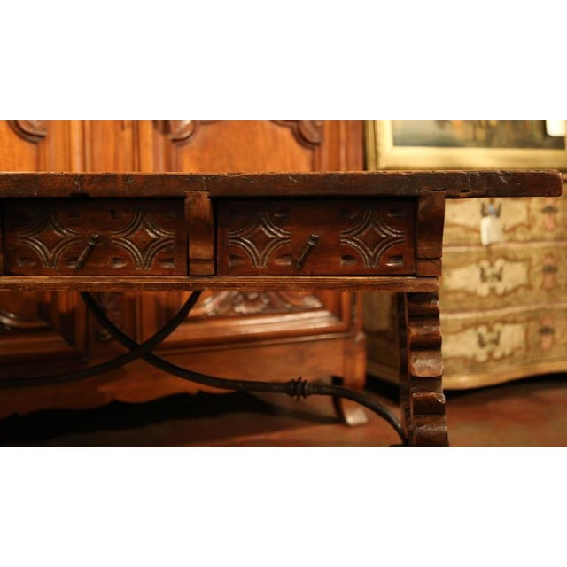 18th Century Spanish Carved Walnut Table Desk For Sale In Dallas - Image 6 of 10