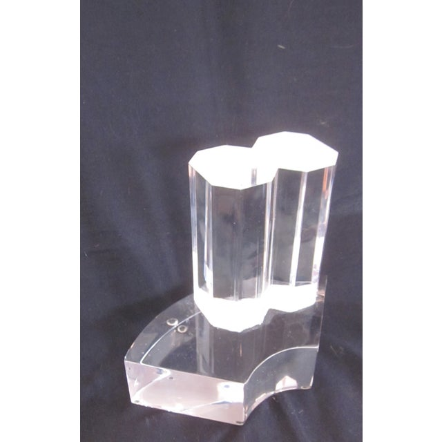 Thick Modernist Two-Tiered Lucite Display Art - Image 3 of 9