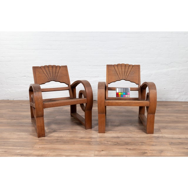 Brown Teak Wood Country Chairs From Madura With Rattan Seats and Looping Arms - a Pair For Sale - Image 8 of 13