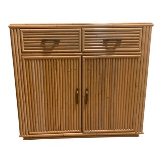 Vintage Boho Chic Rattan Small Buffet Cabinet For Sale