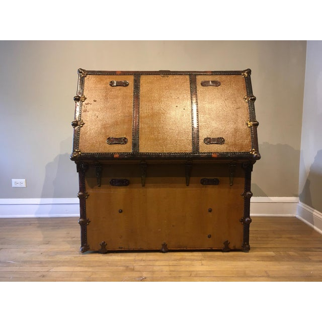 Early 1900s Canvas Travel Trunk For Sale - Image 4 of 13