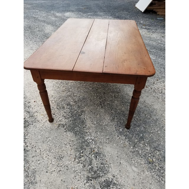 Brown Antique Pine Farm Table For Sale - Image 8 of 12