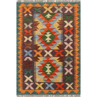 1990s Boho Chic Turkish Kilim Angelyn Rust/Green Hand-Woven Rug For Sale