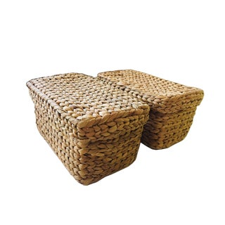 Handwoven Lidded Baskets - A Pair