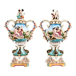 Painted Porcelain Covered Urns - a Pair For Sale