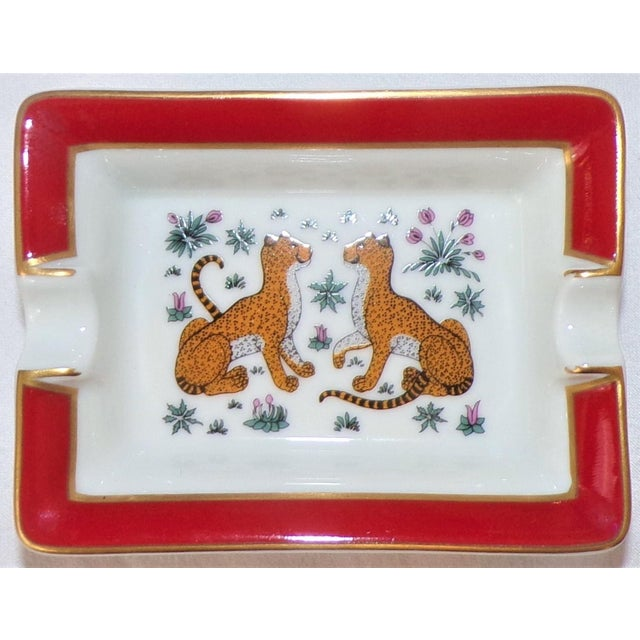 """This is a stunning beautiful porcelain ashtray by Hermes, made in France. This is the Hermes classic """"Les Leopards"""" or two..."""