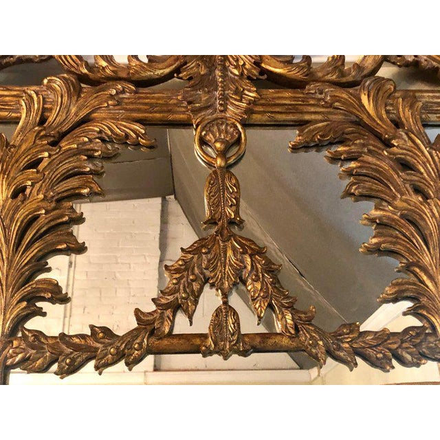 La Barge La Barge Italian Style Foliate Giltwood Wall, Console or Over the Mantle Mirror For Sale - Image 4 of 13